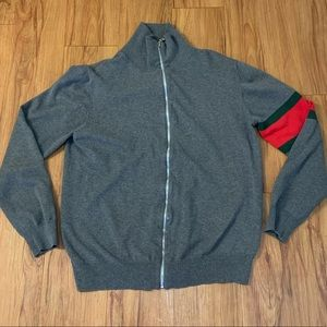 Other - Grey Zip Up Sweater w/ Red & Green Bicep Detail